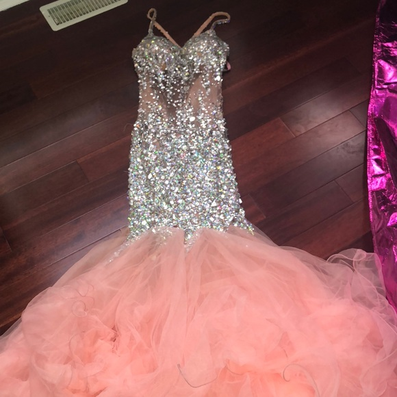 peaches boutique Dresses | Pink Rhinestone Prom Dress Worn Once ...